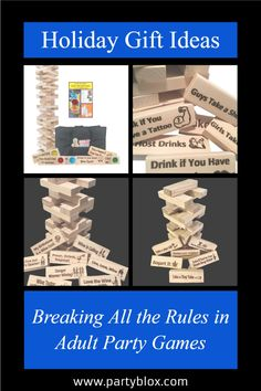 Great Holiday Games Funny Drinking Games, Drinking Jenga, Adult Drinking Games, Drinking Games For Parties, Adult Party Games, Christmas Drinking Games, Adult Christmas Party, Christmas Party Games, Great Gifts For Girlfriend