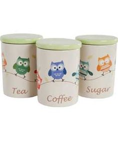 Buy Living Set of 3 Ceramic Owl Storage Jars at Argos.co.uk - Your Online Shop for Storage sets and utensil holders.
