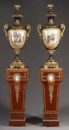 Pair of 19th century French Napoleonic Painted Gilt Bronze Mounted Sevres-Style Porcelain Lidded Vases. Photo courtesy Artes Antiques and Fine Art Gallery.