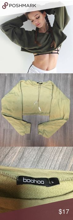 Cropped Crew. NWOT Cropped Crew. NWOT. No longer sold in stores. UK size L, Fits as US size M. Boohoo Tops Sweatshirts & Hoodies