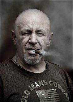 Brutal man | stare, smoke, male, black and white