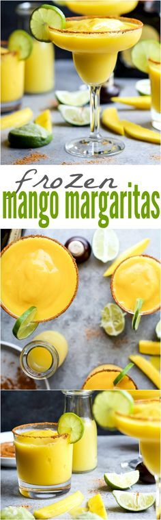Easy FROZEN MANGO MARGARITAS with a chili lime salt rim! The perfect cocktail recipe to keep you cool this summer!