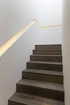 Love the recessed handrail Stair Railing Ideas Handrail Love recessed Narrow Staircase, Staircase Handrail, Stair Railing Design, Railing Ideas, Stairway Lighting, Modern Stairs, Interior Stairs, House Stairs, Stairways