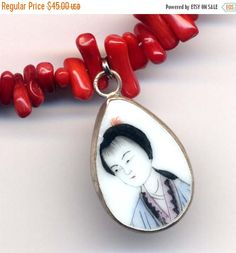 SALE 15% off Geisha Necklace Old China Pottery by Annaart72