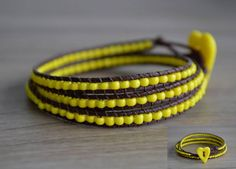 3-strand cotton wrap bracelet with glass beads and handmade FIMO button #bracelet #beads #FIMO #button #handmade #yellow #summer