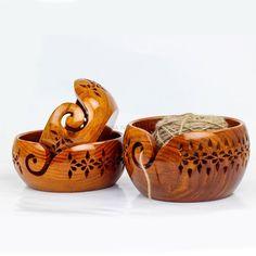 Wooden Lattice Yarn Bowl for Knitting Crochet Holderl with | Etsy Wooden Yarn Bowl, Wooden Bowls, Handmade Wooden, Handmade Items, Yarn Storage, Crochet Accessories, Christmas And New Year, Hand Dyed Yarn, Decorative Bowls