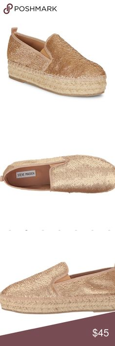 New in  Steve Madden champagne espadrille shoes NWT these sequenced shoes will be the talk of the party. The shoe run a little small so these 7.5 size will fit a size 7. Textile upper with sequined detailing. Slip-on design. Round toe. Back pull-tab for easy entry. Man-made lining. Lightly padded footbed. Jute-wrapped midsole. Man-made outsole.  Measurements: Heel Height: 1 1⁄2 in Platform Height: 1 1⁄4 in Steve Madden Shoes