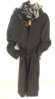 Part Two wool coat £249. InWear scarf £54.95. Elisa Cavaletti Navy artwork top £149.95.