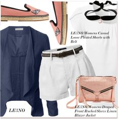 A fashion look from August 2016 featuring LE3NO blouses, LE3NO blazers e LE3NO shorts. Browse and shop related looks.