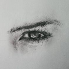 Realistic eye drawing by Realistic Pencil Drawings, Pencil Art Drawings, Art Drawings Sketches, Eye Drawings, Pencil Sketching, Detailed Drawings, Art Illustrations, Art Quotidien, Photographie Portrait Inspiration