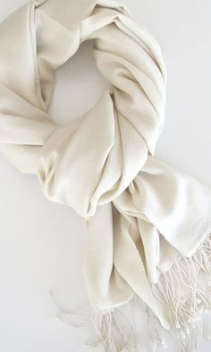 Handwoven Silk – Cashmere Wrap | Pashmina Shawl in Ivory Whisper by SILK &…