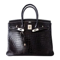Authentic Hermes Birkin 35 Bag Black Crocodile Porosus White Stitching | From a collection of rare vintage top handle bags at https://www.1stdibs.com/fashion/handbags-purses-bags/top-handle-bags/