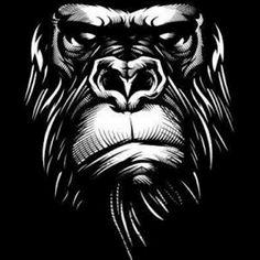 Serious white-ink gorilla muzzle on black background tattoo design - Tattooimages. Gorilla Tattoo, Monkey Art, Creation Art, White Ink, Black Backgrounds, Vector Art, Pop Art, Art Drawings, Illustration Art