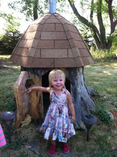 A gnome house made from a tree stump