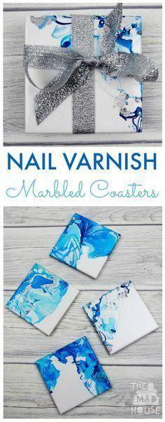 How to make Nail Varnish Marbled Coasters. These beautiful marbled coasters are beautiful as so simple to make. A great homemade gift and DIY craft gifts Nail Varnish Marbled Coasters Diy Crafts To Sell, Fun Crafts, Arts And Crafts, Sell Diy, Decor Crafts, Rock Crafts, Creative Crafts, Be Creative, Make To Sell