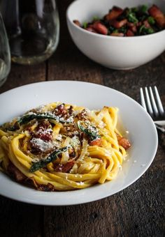 Butternut Squash Carbonara with Caramelized Onions and Fried Sage {Katie at the Kitchen Door}