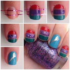 Ariel Princess nails tutorial by Aggies Do It Better