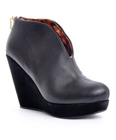 Take a look at this Black Monica Wedge Bootie by Envy on #zulily today!