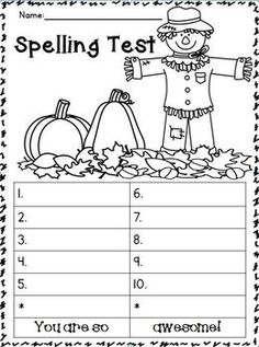 FREEBIES!!!! September-October Spelling Test Templates!!!! FREEBIE!!!! These are AWESOME to use! They are a BIG HIT with my students. They can color the picture while they are waiting for the next word to be called out. Thought I would share the LOVE! :o)