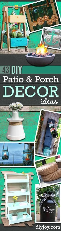 DIY Porch and Patio Ideas - Decor Projects and Furniture Tutorials You Can Build for the Outdoors -Swings, Bench, Cushions, Chairs, Daybeds and Pallet Signs diyjoy.com/...