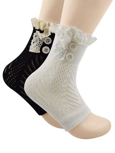 """Spring fever Leg Cuffs Boot Knit Warmers Cover Keep Warm Socks with Lace Trims 2 Pairs Black White. SIZE: 9.5"""" Long and 11.5"""" around with generous stretch. PRACTICALITY: This simple yet cute design is perfect for most kind of boots. And these leg warmers have two kinds of ways to wear. CARE: Hand wash with cold water and lay flat to dry. MUST HAVE WINTER FASHION ACCESSORY: Wonderful to wear with boots, booties, over stockings, skinny jeans, leggings, knee high boots, rubber boots or even..."""