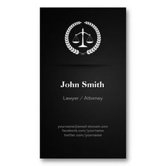 Lawyer / Attorney - Professional Elegant Black Business Card Templates
