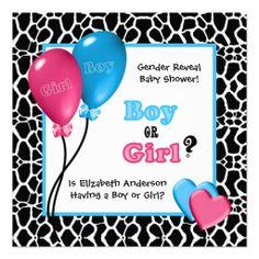 Trendy Giraffe Print Gender Reveal Baby Shower Personalized Invitation