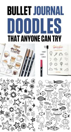 Bullet Journal Doodle Ideas that will help you to take your Bullet Journal to the next level with your personality. Try a new doodle today! Creating A Bullet Journal, Bullet Journal Banner, Bullet Journal Themes, Bullet Journal Inspiration, Journal Ideas, Hand Doodles, Journal Fonts, Doodle Ideas, Mood Tracker
