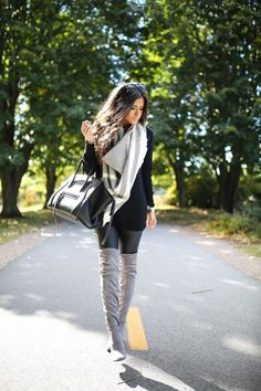 SWEATER: BP | FAUX LEATHER LEGGINGS: Trouve (highly recommend this pair) | BOOTS: Charles David (similar here & here) | SCARF: Caslon | HANDBAG: Celine (similar here) | SUNGLASSES: Quay (similar here)