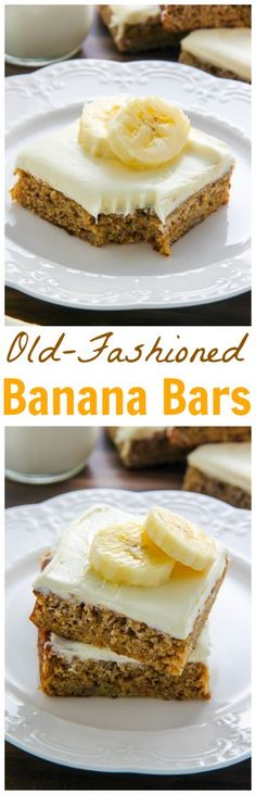 Ultra soft Old-fashioned banana bars topped with homemade cream cheese frosting and finished off with fresh banana slices. One of my favorite recipes!
