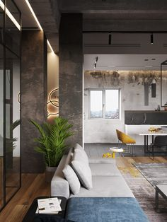 Merged apartments make a cool loft space. Featuring an edgy interior with concrete decor, warm natural materials & a monochrome color scheme with bright accents Loft Interior Design, Loft Design, Contemporary Interior Design, Interior Decorating, House Design, Loft Interiors, Loft Style, Diy Bedroom Decor, Home Decor