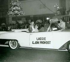 1957 Jon Provost And Lassie At The Christmas Santa Claus Lane Parade On Hollywood Blvd.