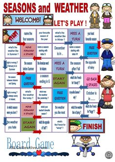Seasons and weather - board game worksheet - free esl printable worksheets made by teachers english Seasons Worksheets, Worksheets For Kids, Printable Worksheets, Weather Worksheets, English Games For Kids, English Activities, English Lessons, Learn English, Gcse English