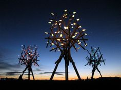 BAMBOO POLE SOLAR POWERED TREE SCULPTURE..........MAYBE ON A SMALLER SCALE !
