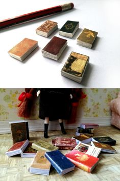 Stuff your tiny bookshelves!  #oneinchscale #dollhouseminiatures #dollhouseinspo #bookworm #minibook #dollhouse #dollshouse #spellbook #dollhouseproject #casademuñecas #puppenhaus #victoriandollhouse #miniatures #minishacks #12thscale