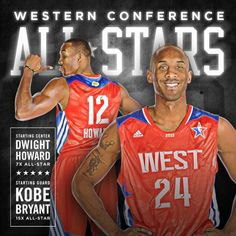 Lakers Kobe Bryant & Dwight Howard will start for the West on the 2013 NBA All-Star Game. Kobe was the top voter getter.