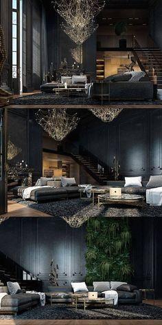 Schwarze Wohnzimmer Ideen und Inspiration Black living room ideas and inspiration Home Design, Design Salon, Modern House Design, Modern Interior Design, Design Ideas, Design Trends, Design Inspiration, Modern Houses, Design Styles