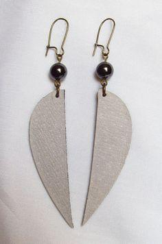 Hematite earrings - urban earrings - long gray earrings $18