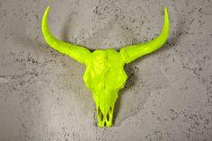 """Dieser beeindruckende Longhorn Schädel """"EL TORO"""" in Neongelb wird die Blicke Ihrer Freunde und Besucher auf sich ziehen. Schmücken Sie Ihr Ambiente mit diesem Dekomeisterwerk, das in jeder Räumlichkeit eine gute Figur macht. Diese etwas andere Wanddekoration wird nicht nur Cowboys und Cowgirls begeistern. Ganz wichtig: Für diesen tollen Schädel musste natürlich kein Tier sein Leben lassen, denn hergestellt wurde er aus hochwertigem Polyresin! Jetzt bei Riess Ambiente"""