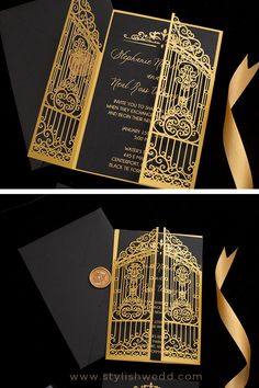 Black and gold combination always signifies the high-end and luxury. #weddinginvitations#wedding#lasercutweddinginvitations Affordable Wedding Invitations, Laser Cut Wedding Invitations, Elegant Wedding Invitations, Wedding Designs, Wedding Ideas, Gold Wedding Colors, Unique Weddings, Wedding Photos, Wedding Decorations
