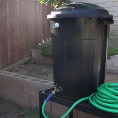 We need to do the spigot part in my rain barrel! Trash Can Rain Barrel Outdoor Projects, Garden Projects, Garden Ideas, Stem Projects, Easy Garden, Water Collection, Rainwater Harvesting, Garden Landscaping, Landscaping Ideas