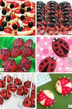 Un cumpleaños del Pequeño Reino: Ben y Holly! – Party Ideas From PartyWeb Ladybug Picnic, Baby Ladybug, Cute Snacks, Cute Food, Ladybug Party Foods, Ladybug Snacks, Ladybug Appetizers, Tomato Appetizers, Ben E Holly
