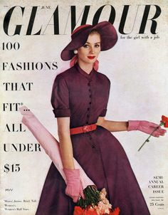 Suzy Parker on the cover of Glamour, June 1952.