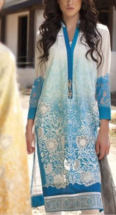 Turquoise Embroidered Cotton Lawn Dress