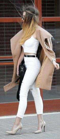 Endzel Nude And White Shopping Stylish Fall Outfit Idea