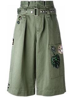 Shop Marc Jacobs embroidered long cargo shorts.