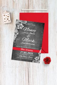 Chalkboard Wedding Invitation Suite Lace Wedding Invitations Black and White Wedding Invitation Set Chalkboard Wedding Invitations, Black And White Wedding Invitations, Red And White Weddings, Wedding Invitation Sets, Invitation Design, Invitation Suite, Our Wedding, Lace Wedding, Wedding List