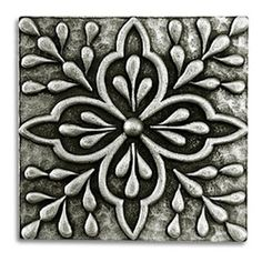 "Compliments Accessories - Donatella Tile - Old world Mediterranean floral design 2x2"" tile in a Pewter finish"