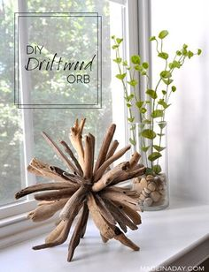 DIY Driftwood Orb Home Decor,Learn to make this unique piece with a coastal home decor theme. driftwood crafts, home decor, wood orb easy craft beachy decor Driftwood Projects, Driftwood Art, Driftwood Ideas, Decorating With Driftwood, Driftwood Wreath, Beach Crafts, Diy And Crafts, Summer Crafts, Deco Nature