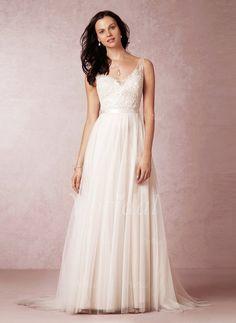 Wedding Dresses - $185.53 - A-Line/Princess V-neck Court Train Tulle Wedding Dress With Beading (0025059991)